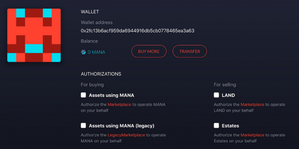 Ethereum wallet connect to decentraland